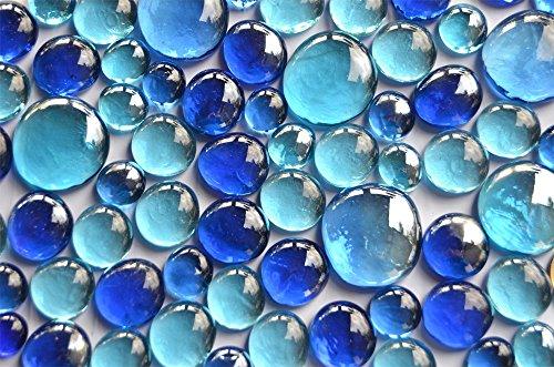 Bazare Masud e.K. Galets en Verre 350 g Bleu Mélange de 3 Tailles différentes 12–15 mm, 17–21 mm et 26–33 mm, env.81 Galets décoratifs en Verre.