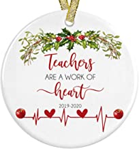 Teachers Are A Work Of Heart Best Teacher Ever Apple Wreath 2019 Ceramic Christmas Ornament, Gift for Educator or Instructor Present Idea + Free Gift Box and Ribbon