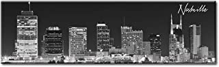 DJSYLIFE- Panoramic Nashville Skyline Wall Art,Canvas Wall Art,Black and White Wall Decoration Painting for Bedroom or Office Decor, Ready to Hang 13.8
