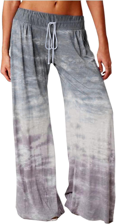 Tenworld B Tie Dye Pants for Loose Women Wide Casual San Francisco Mall lowest price Leg Gradien