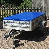 ECD Germany Lona para Remolque con Cinturón de Goma Cubierta Resistente para un Transporte Seguro 2575 x 1345 x 50 mm PVC Azul Funda Protectora Impermeable Cinta Elástica Tensora de Lona