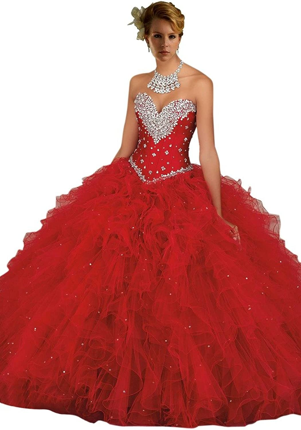 Dearta Women's Crystal Ruffles Pleated Sweetheart Quinceanera Dresses Ball Gowns