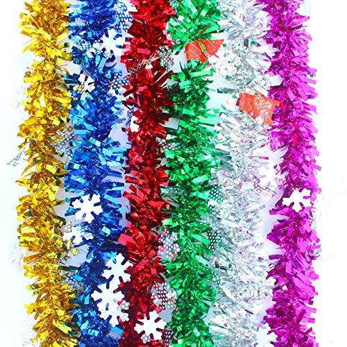 2M Árbol de Navidad Guirnalda de guirnaldas Bar Cinta brillante Guirnalda Adornos para árboles de Navidad Copo de nieve Caña de oro Decoración de fiesta de oropel, púrpura, 9 cm de ancho 2 m de largo