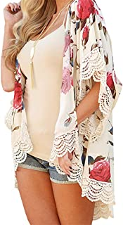 Women Cardigan, Summer Women's Floral Chiffon Kimono Cardigan Flare Sleeve Loose Blouse Beach Cover up