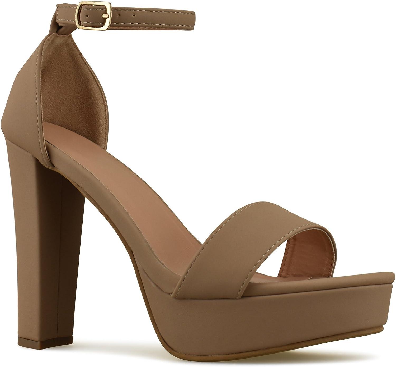 fa8464b8f9ebf Premier Standard Womens Platform Ankle Strap High Heel - Peep Toe ...