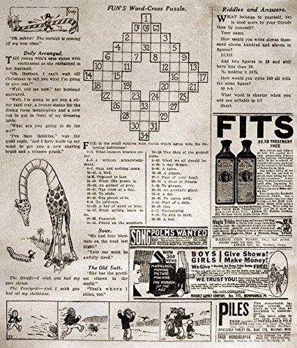 Crossword Puzzle 1913 Npage From The Fun Supplement Of The Sunday Edition Of The New York World 21 December 1913 Featuring The First Crossword Puzzle (Top) Poster Print by (18 x 24)