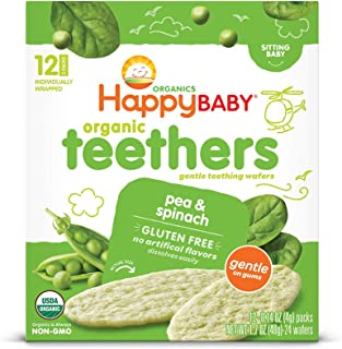 Happy Baby Gentle Teethers Organic Teething Wafers Pea Spinach, Soothing Rice Cookies for Teething Babies Dissolves Easily, Gluten-Free, 12 Count (Pack of 6)