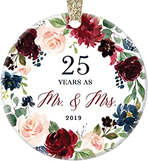 25th Wedding Anniversary Gift 2019 Christmas Ornament Milestone Mr. & Mrs. Couple Married Twenty-Five 25 Years Beautiful Ceramic Holiday Keepsake Present Porcelain 3