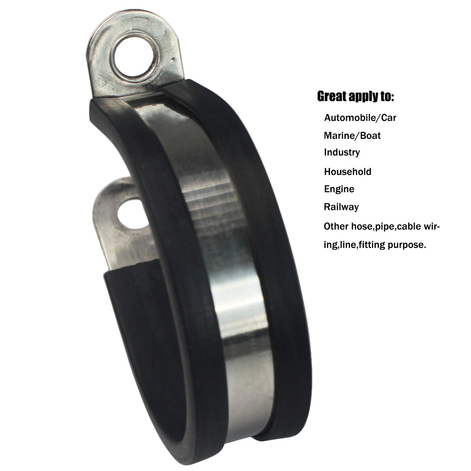 1 Ronteix 20 Pack,Rubber Cushioned 304 Stainless Steel Cable Clamp,Pipe Clamp,Metal Clamp,Tube Clamp for Pipe Fitting