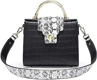 Fine Bag/Fashion Crocodile Pattern Shoulder Bag Wide Shoulder Strap Small Square Bag Simple Casual Crossbody Bag Large Capacity Ladies Bag (Color : Black, Size : 20 * 10.5 * 18cm)