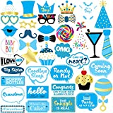 Baby Shower Boy Photo Booth Props - 40 Pieces - Baby Shower Decorations, Gifts, Favors and Supplies for Boy - Pregnancy Announcement - Gender Reveal Party