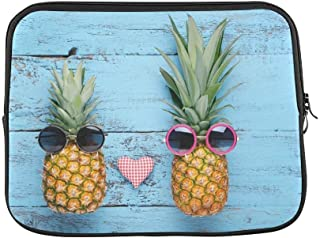 """ASKSWF Design Custom Ripe Pineapples Sunglasses On Blue Wooden Sleeve Soft Laptop Case Bag Pouch Skin for Air 15inch""""(2 Sides)"""