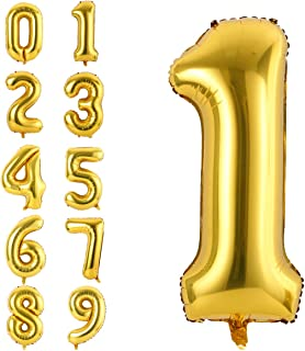 40 Inch Number Balloons Gold Number 1 Helium Foil Birthday Party Decorations Digit Balloons