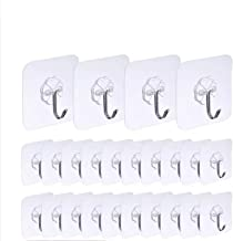 Adhesive Hooks Kitchen Wall Hooks- 12 Packs Heavy Duty 22lb(Max) Nail Free Sticky Hangers with Stainless Hooks Reusable Ut...