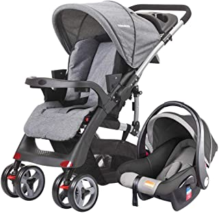 Mamakids Infant Baby Adjustable Foldable Stroller Convertible Bassinet Compact Baby Carriage Toddler Seat Stroller Grey