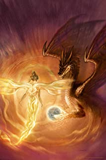 Angel Flying Over Ring of Fire with Dragon by Ciruelo Fantasy Painting Gustavo Cabral Cool Wall Decor Art Print Poster 12x18