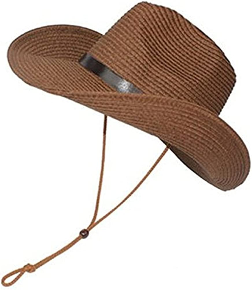 LUOEM Cowboy Sun Hat Wide Brim Hat Summer Beach Straw Cap Foldable Caps (Coffee), 11.81 11.81 7.09 inch