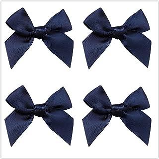 50pcs Mini Satin Ribbon Bows Fabric Ribbon Flowers 42mm x 39mm Appliques DIY Craft for Sewing, Scrapbooking, Wedding, Christmas Gift Warpping (Navy)
