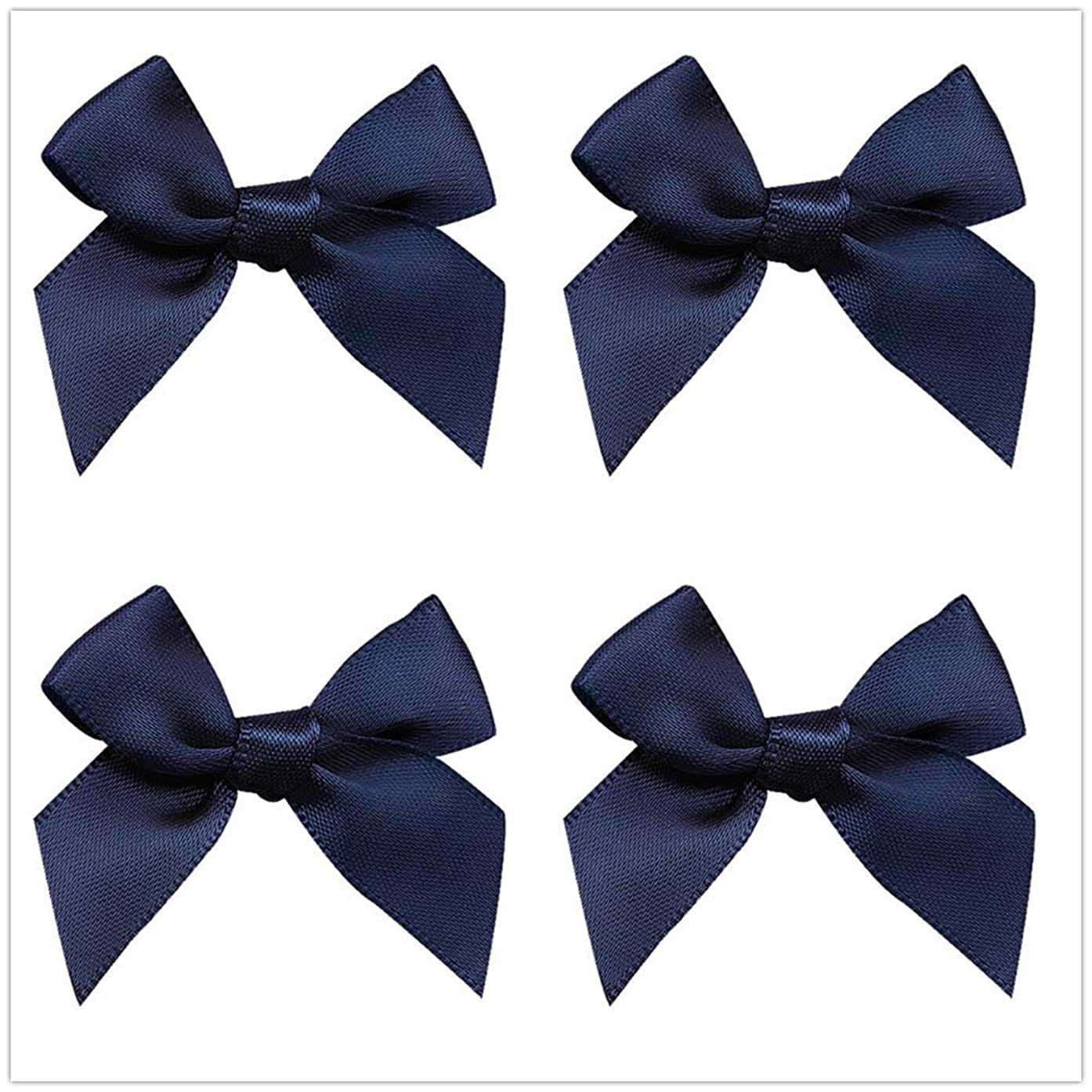 50pcs Mini Satin Ribbon Bows Fabric Ribbon Flowers 42mm x 39mm Appliques DIY Craft for Sewing, Scrapbooking, Wedding, Christmas Gift Warpping (Navy)