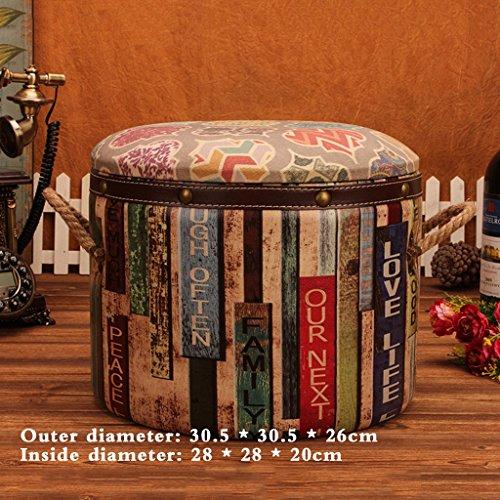 Unique tabouret rond rétro de stockage européen pour chaussures tabouret mode tabouret de canapé de style américain (Size : 30.5 * 30.5 * 26cm)