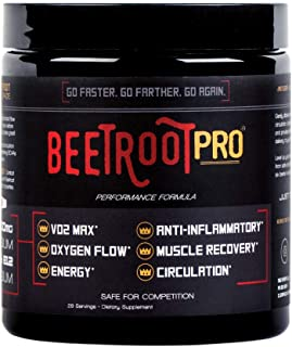 Beetroot Pro Sports Beet Powder for Optimized Circulation, Trusted by Elite Professional Triathletes Runners Cyclists, Enhance Muscle Strength, Boost Energy, VO2 Max, Patented NO3-T Nitrate Technology