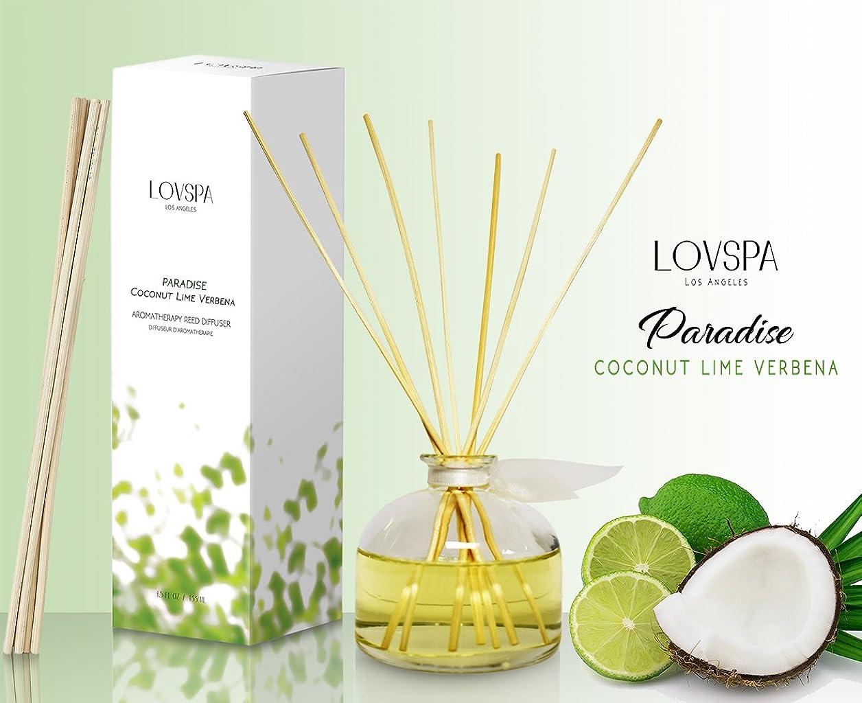 ギャップ悪性腫瘍涙が出るCOCONUT LIME VERBENA Fragrance Reed Diffuser PARADISE by LOVSPA Fragrances Tropical Blend of Lemon Verbena, Fresh Limes and Sweet Coconut Great Gift Idea for New Mom