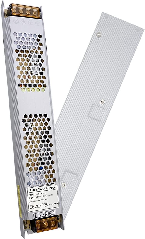 VARICART Activador LED IP20 24V 12,5A 300W, Ultra Fino Universal Potencia Conmutable AC DC, Transformador de Voltaje Constante Adaptador para Cámara CCTV Tira de Luz G4 MR16 GU5.3 Bombilla (Pack de 1)