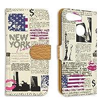 FFANY Y!mobile Android One S6 用 PU手帳型 ミラータイプ スマホケース 自由の女神・ニューヨーク 新聞デザイン 包装紙 ラッピング風 ワイモバイル アンドロイド SIMフリー スタンド スマホカバー 携帯カバー newspaper aao_210133m