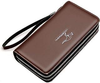 BeniNew men's wallet long business multi-card large capacity zip long bag-brown