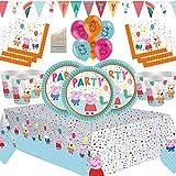 Nuevos artículos de Fiesta de Peppa Kit de Fiesta de cumpleaños para niños Decoraciones de vajilla Premium - Sirve 16 Invitados