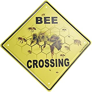 """Vincenicy Bee Crossing Xing 12""""x12"""" Funny Novelty Metal Tin Sign Farm Organic Country Home Decor Wall Sign Suitable for In..."""