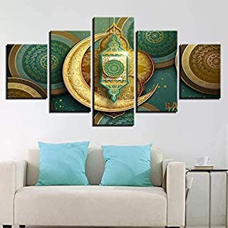 RTYUIHN 5 panels canvas wall art decoration living room wall art painting canvas painting 5 printed Islamic Muslim mosque ...