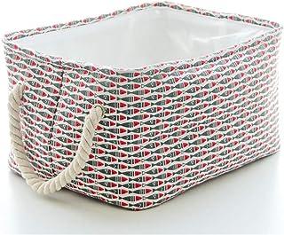 JOMSK Durable Pliable Tissu Boîte De Rangement en Toile Panier De Rangement avec Poignées for Tablette Bureau Besoins De S...