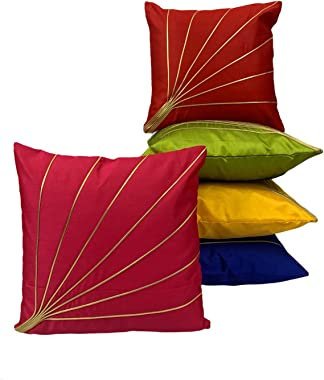 Maple Craft Silk Decorative Golden Striped Throw Pillow Cover Bedroom & Living Room Cushion Cover Set Sofa 16 X 16 Inches