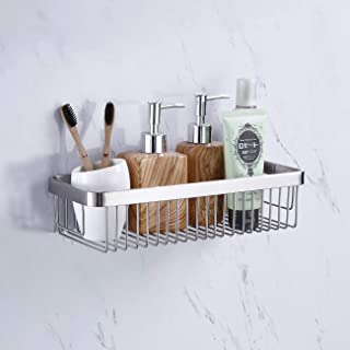 KES Adhesive Shower Shelf Bathroom Storage Basket SUS304 Stainless Steel Shower Caddy Rustproof No Drill Wall Mount, Brushed Finish BSC201DF-2
