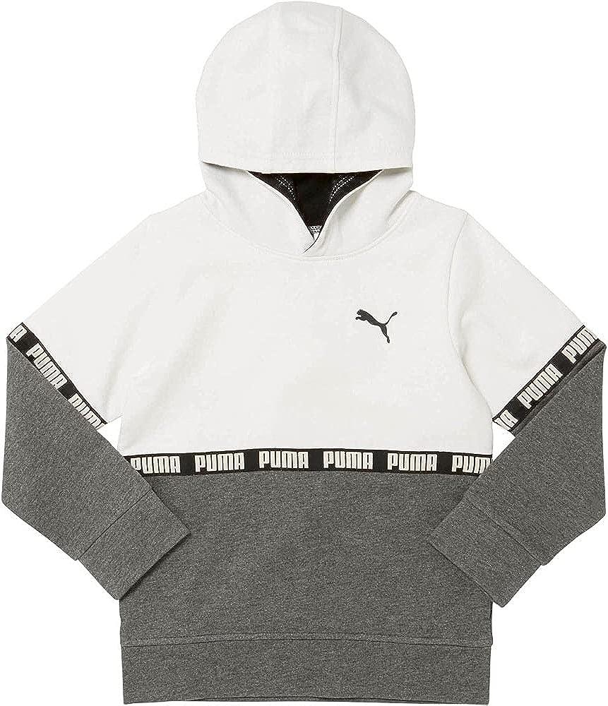 Puma Kids Girls Cotton Fleece Color Block Hoodie Hoodie Drawstring - White
