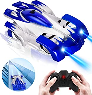 Wall Climbing Car Toy, EGOERA Dual Modes 360°Rotation Stunt Remote Control Car Vehicles Toys Remote Controlled Stunt Racing Car with LED Lights for Kids Teenagers Adults, Blue