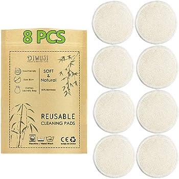 8 Pieza Almohadillas Desmaquillantes Reutilizables Discos De Maquillaje Bambú Algodón, Algodón Orgánico Microfibra Maquillaje Ojos Lavable, Super Suave Absorción Almohadillas De Paño De Lavado: Amazon.es: Belleza