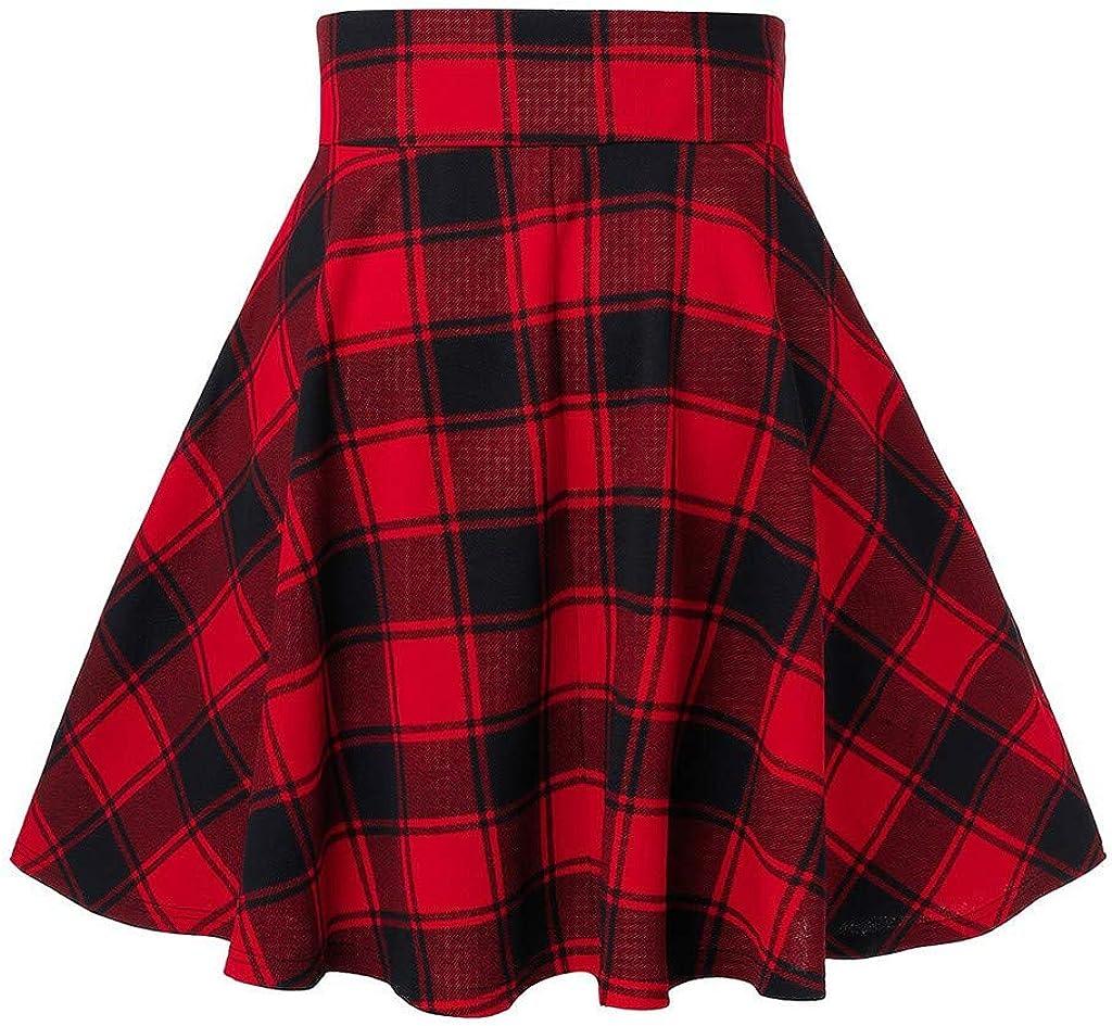 LQS72 Minifalda Skater Plisada a Cuadros Casual para Mujer Falda Acampanada de Cintura Alta