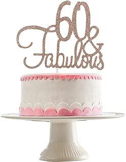 Rose Gold Glittery 60 & Fabulous Cake Topper,60th Birthday Party Decorations,60th Birthday Party Cake Decor