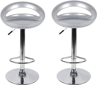 2 x Silla de Bar, rotación de 360 °, Ajustable en Altura, para Barra, Estudio, Cocina (Gris)