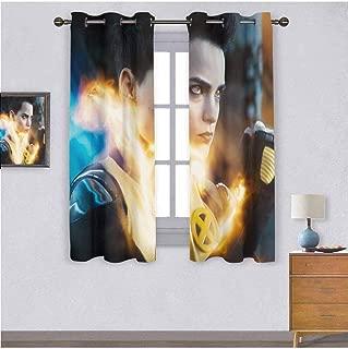 Negasonic Teenage Warhead Brianna Hildebrand Deadpool 2 Movie Printing Curtain, 2 Panels Fashion Grommet Top Thermal Insulated Room Darkening Curtains, 84W x 72L Inch