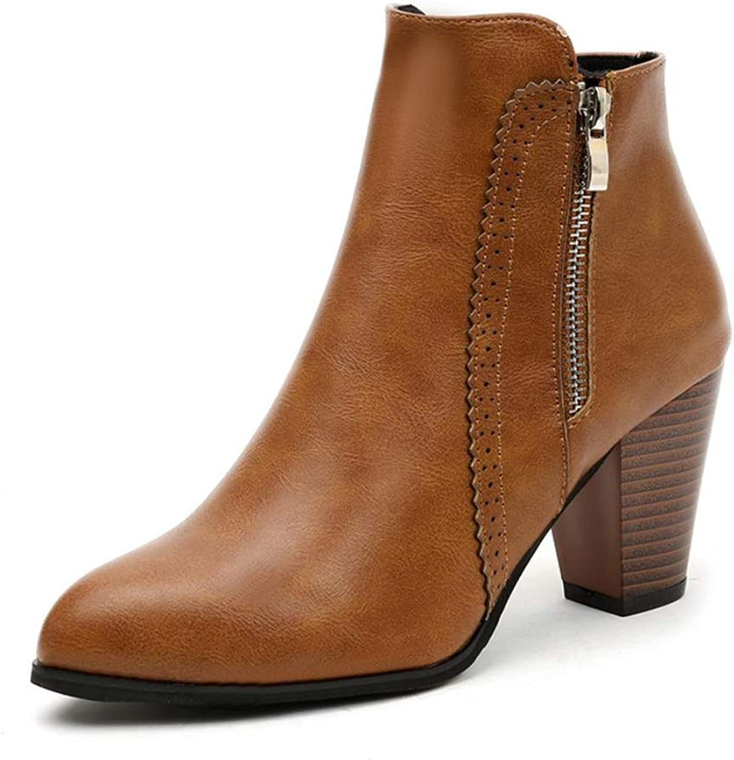 Cici shoes Women's Faux Suede Slip On V Cut Ankle Boots Side Zip Chunky Block Heel Ankle Booties