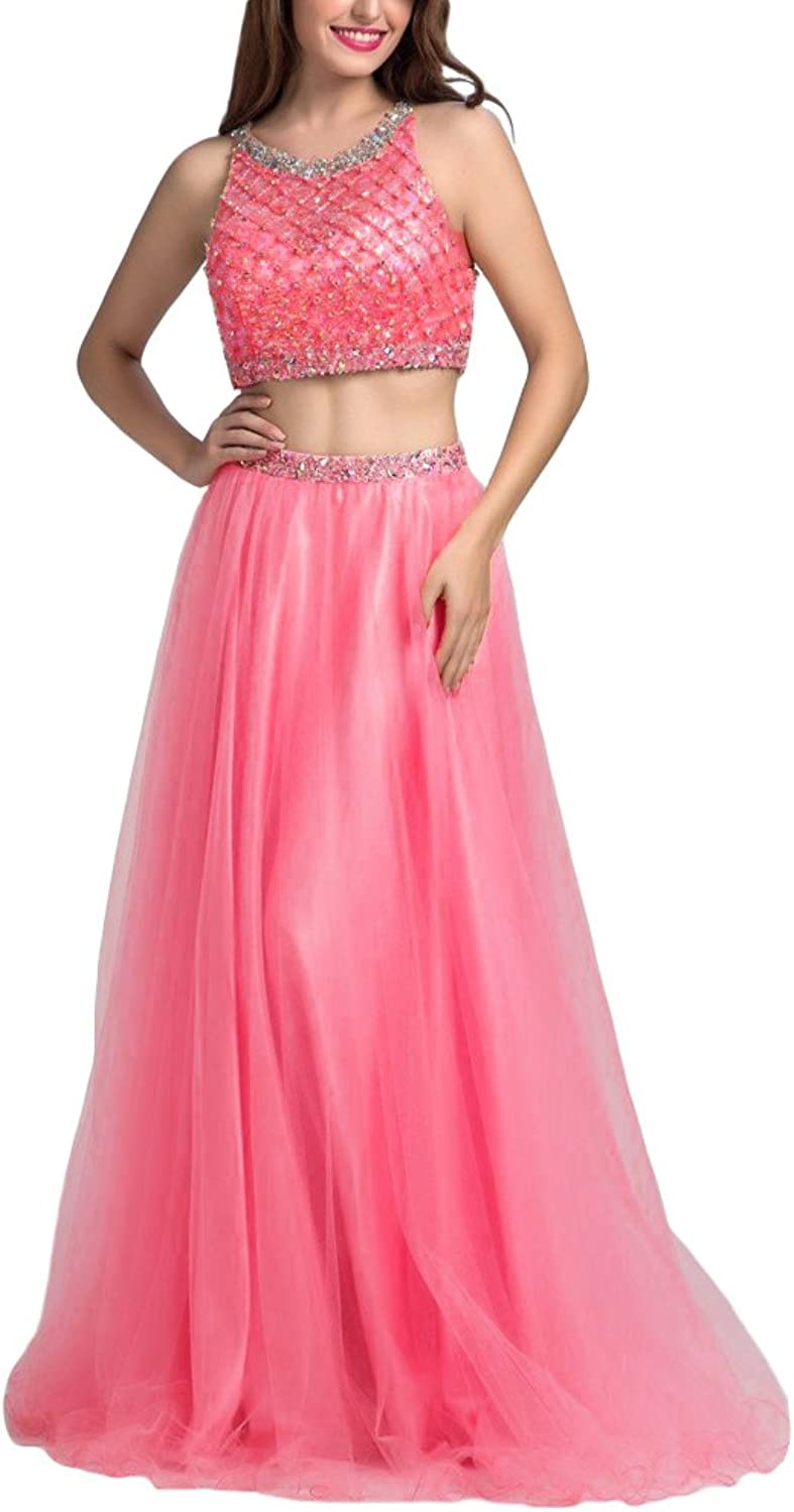 ZafeeFreely Two Piece Beaded Womne's Long ALine Homecoming Dress Cocktial Evening Party Prom Ball Gownses