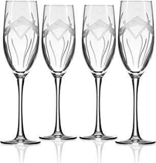 Rolf Glass Dragonfly Champagne Flute Glasses 8 ounce - Set of 4 Toasting Flute Glasses - Lead-Free Crystal Glass - Etched Flute Glasses - Made in the USA