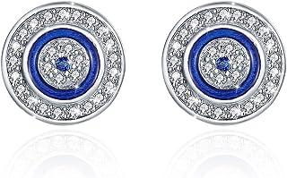 Pendientes redondos de ojo malvado azul plata de ley 925 azul blanco zirconia cúbica con esmalte