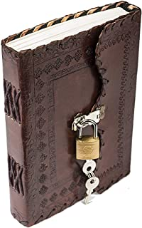 Antique Handmade Leather Bound Journal Regular Diary/Personal Organiser Memoir for Men and Women with Lock and Key (Brown_...
