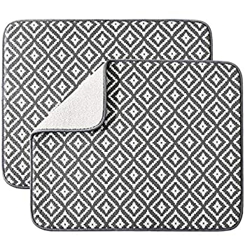 Dish Drying Mat for Kitchen 2 Pack Ultra Absorbent Microfiber Dishes Drainer Mats by Subekyu,19.2 by 15.8 Inch Rhombus