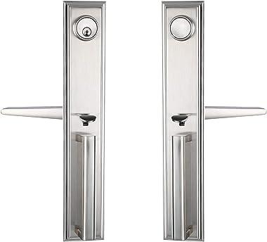 Silver Double Door Handleset Front Entry Door Lockset Exterior Full Escutcheon Lockset-Keyed Handleset & Dummy Inactive Door