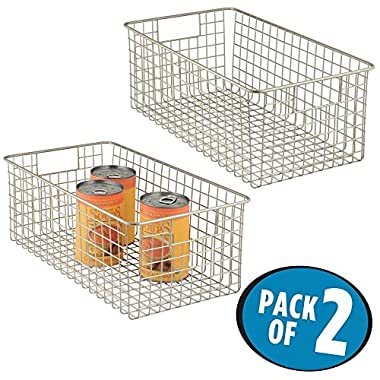 mDesign Wide Wire Storage Basket for Kitchen, Pantry, Cabinet - Pack of 2, Satin